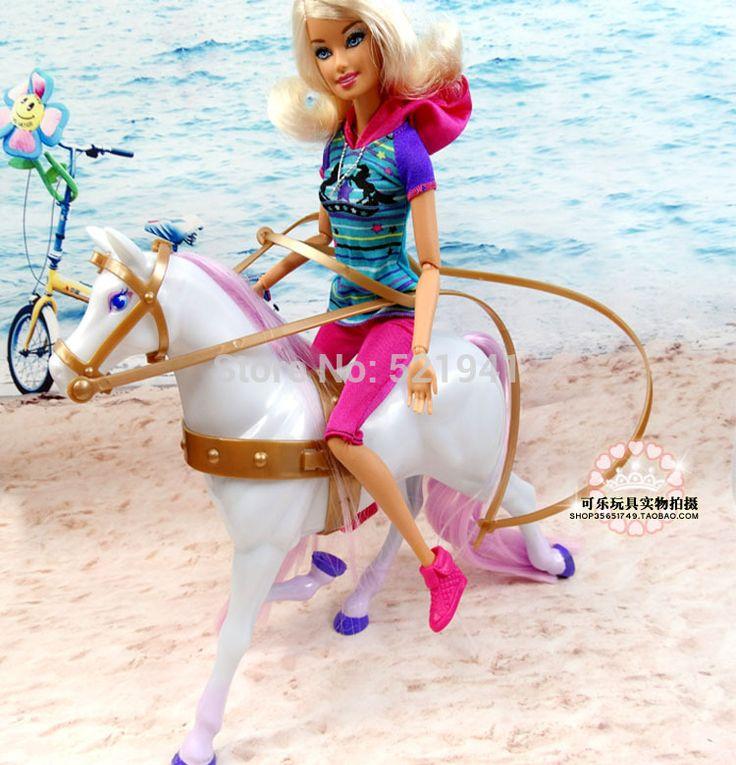Бесплатная Доставка, Девушка Рождественские подарки Детям Подарки На День Рождения Куклы Лошадь Кукла Аксессуары Для Куклы Барби