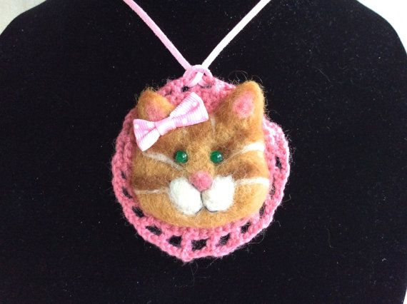 Necklace cat necklace kitten needle felted cat by Felt4Soul