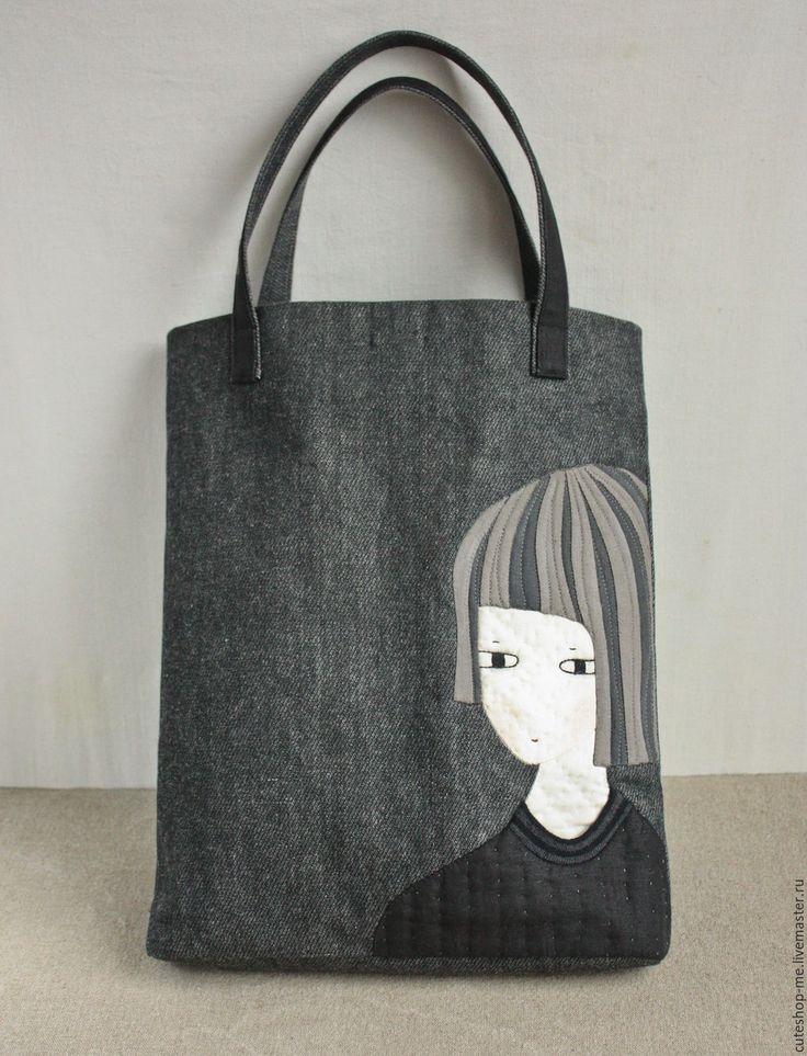 Cotton bag with applique / Купить Сумка из плотного хлопка с аппликацией - темно-серый, рисунок, аппликация из ткани, черный цвет