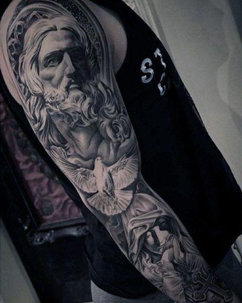Guys Christian Themed Jesus And Dove Full Sleeve Tattoo Ideas