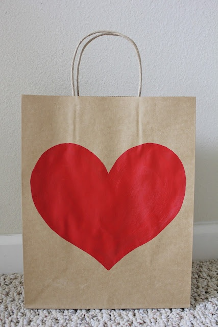 DIY: in 5 minutes turn a boring brown gift bag into perfect Valentine's Day packaging.