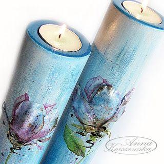 Świeczniki - komplet Blu