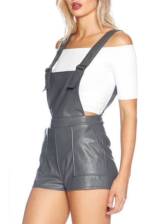 Route 66 Grey Short Overalls - LIMITED (AU $120AUD) by Black Milk Clothing