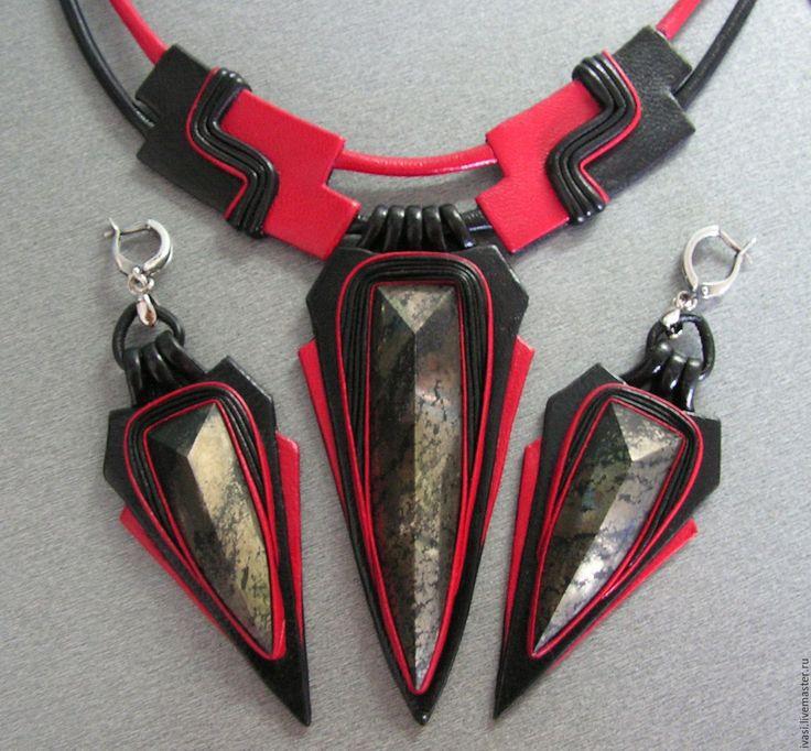 """Купить Комплект из кожи """" Красное и чёрное"""" - черный, красный, комплект украшений колье"""