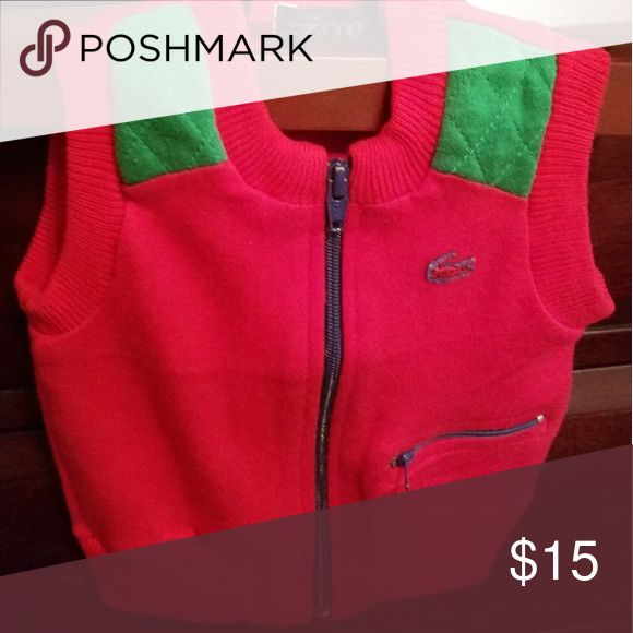 IZOD LACOSTE SWEATER VEST Sip front red/green cotton sweater vest just like new only worn once..This item is perfect for CHRISTMAS!!! Lacoste Shirts & Tops Sweaters