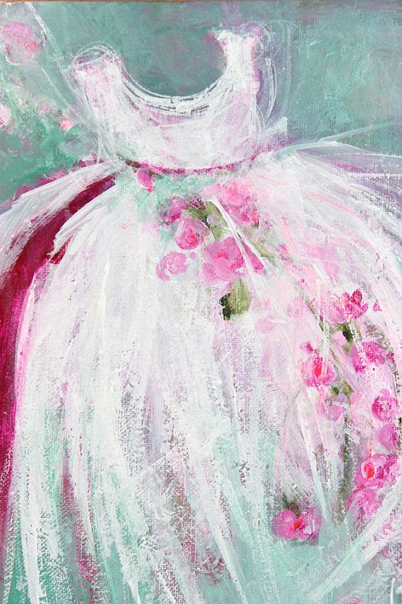 original tutu roses ballerina ballet dress painting dance 8X10