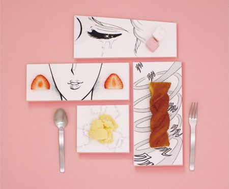 Series of unusual food plates created by Japanese designer Mika Tsutai.