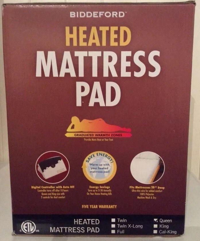 Biddeford Heated Mattress Pad Queen Dual Controls Natural Color