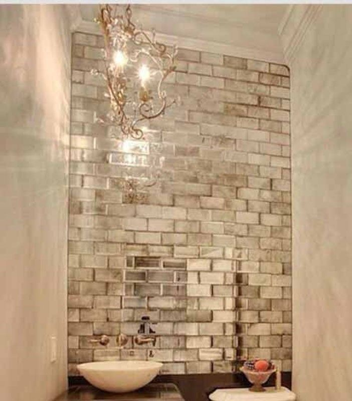 Silver Mirrored Mirror Bevelled Wall Tiles Mirror Wall