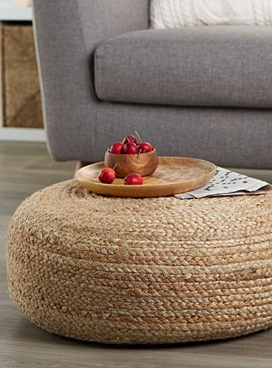 Exclusively from Simons Maison     Trendy style in home fashion   Poufs are being integrated into every room as a decorative accent, footrest, spare table or extra seat   Here the circular shape in braided hemp is perfect for chic, rustic decor   Easily wipes clean with a damp cloth   60 x 20 cm