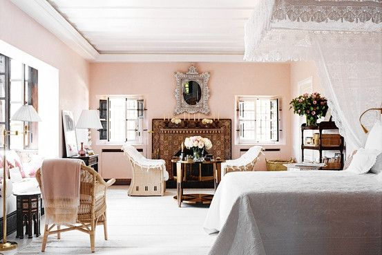 Marella Agnelli's Moroccan Bedroom, Pretty in Pale Pink - WSJ
