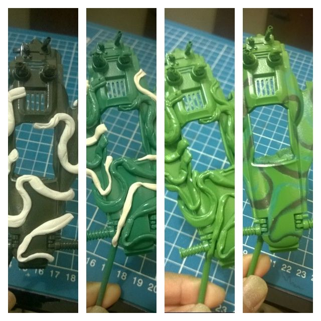How to make camo motives on mini4wd custom body paint -- use more tacks to adds more shades