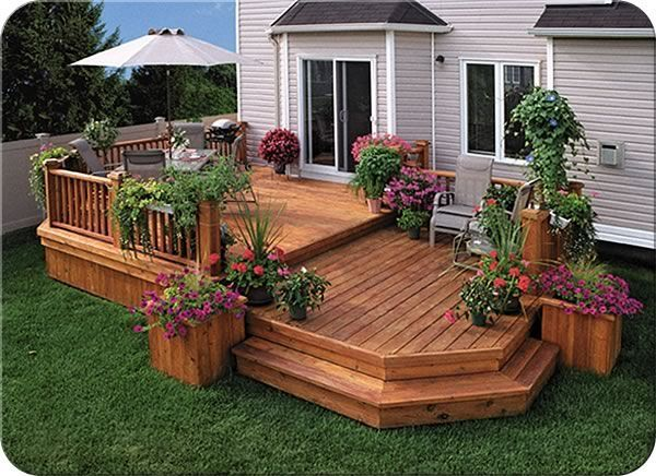 Image result for multi level decks with built in planters