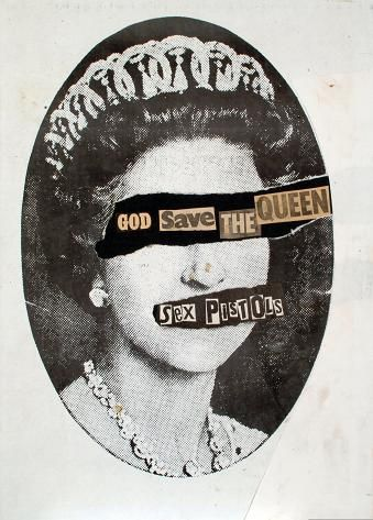 "Jamie Reid, Plattencover Sex Pistols-Single ""God Save the Queen"", 1977 - Postmodern - British Punk"
