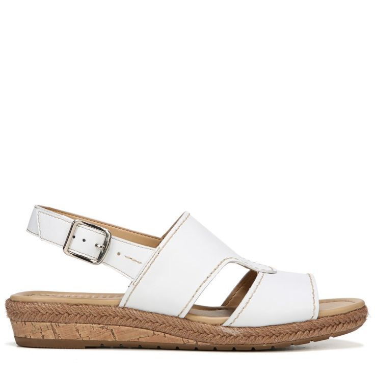Naturalizer Women's Reese Narrow/Medium/Wide Espadrille Wedge Sandals (White Leather) - 12.0 M