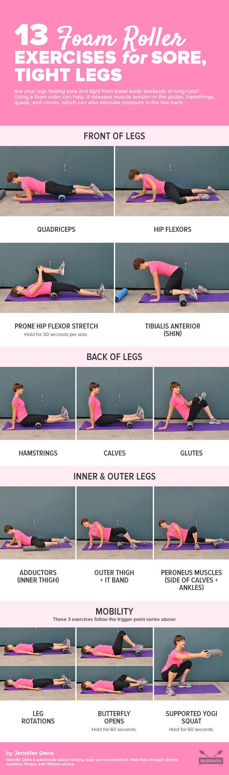 Are your legs feeling sore and tight from lower-body workouts or long runs? Using a foam roller can help. Get the full workout here: http://paleo.co/foamrollerleg