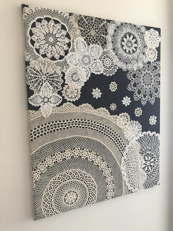 "Doily Art Wall Hanging – ""Snowy Night"" – Vintage Doilies on Burlap – Unique Artwork"