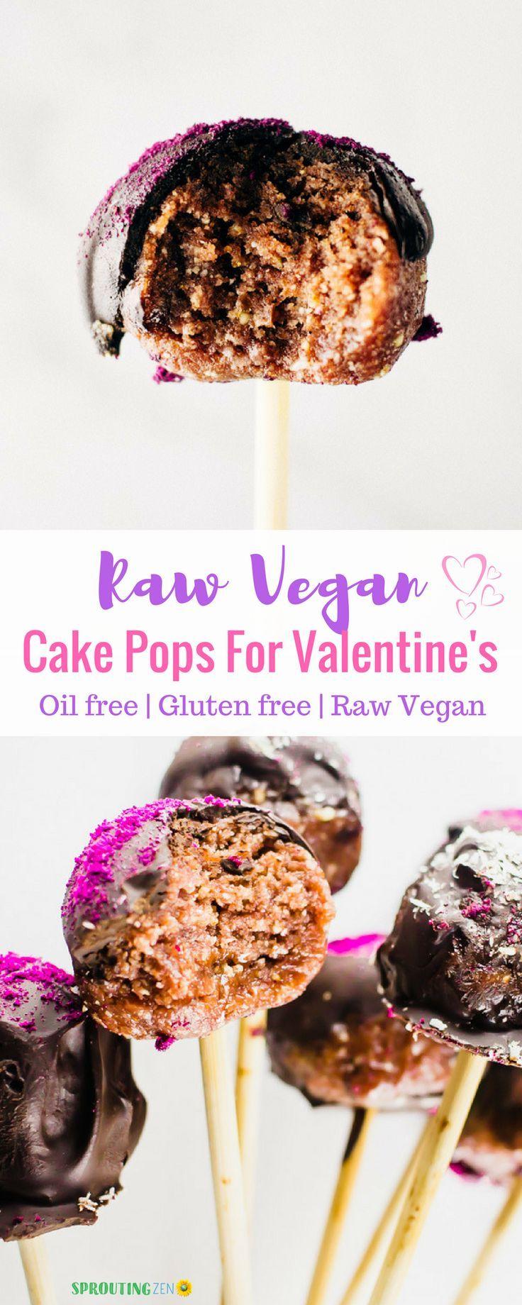 Raw Vegan Cake Pops For Valentine's Day #vegan #plantbased #valentinesdayrecipes  via @sproutingzeneats
