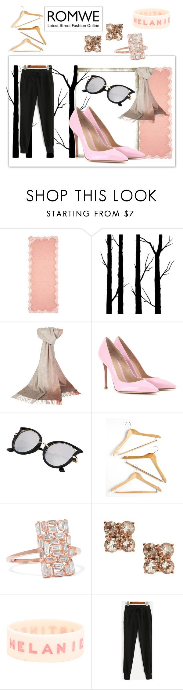 """Romwe set"" by chicagofashionlove ❤ liked on Polyvore featuring Janavi, Dot & Bo, Johnstons of Elgin, Gianvito Rossi, Honey-Can-Do, Suzanne Kalan, Anika and August and romwe"