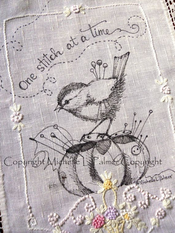Original Pen and Ink Illustration on Antique Vintage Linen Embroidery Michelle…