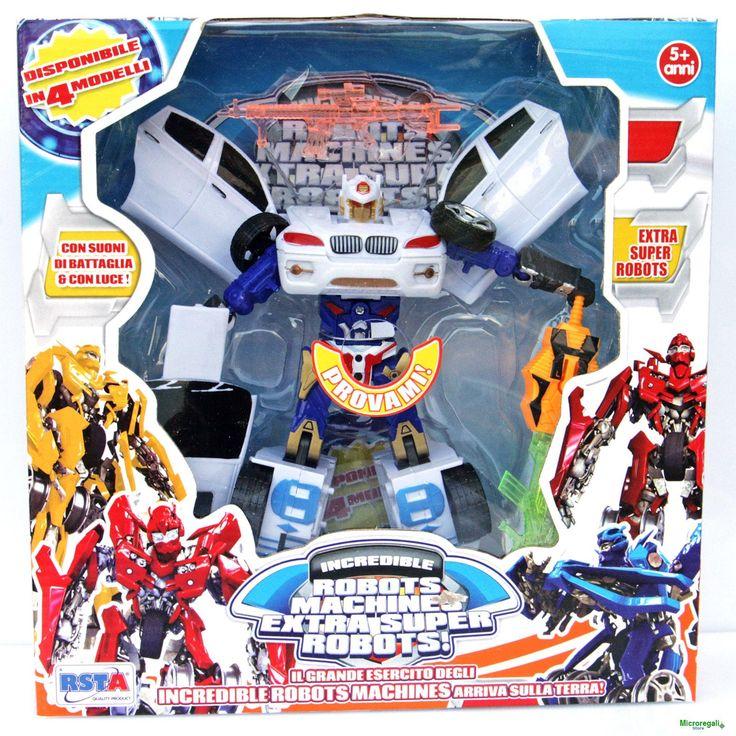 ROBOT MACHINES TRANSFORMERS BMW BIANCO cm 20x22 Per Bambini di 5 anni + eta'Il grande esercito degli incredibili Robot Machines Trasformer arriva sulla terra!Gioca con il trasformers, fallo diventare una stupenda macchina o un favoloso robots.Pile gia' in dotazione (3 x button cell)Dimensioni Robots cm 20 x 22Dimensioni Scatola cm 26 x 27 x 7,5Materiale: Plastica.Adatto per bambini di eta' superiore a 5 anniMarchio CE
