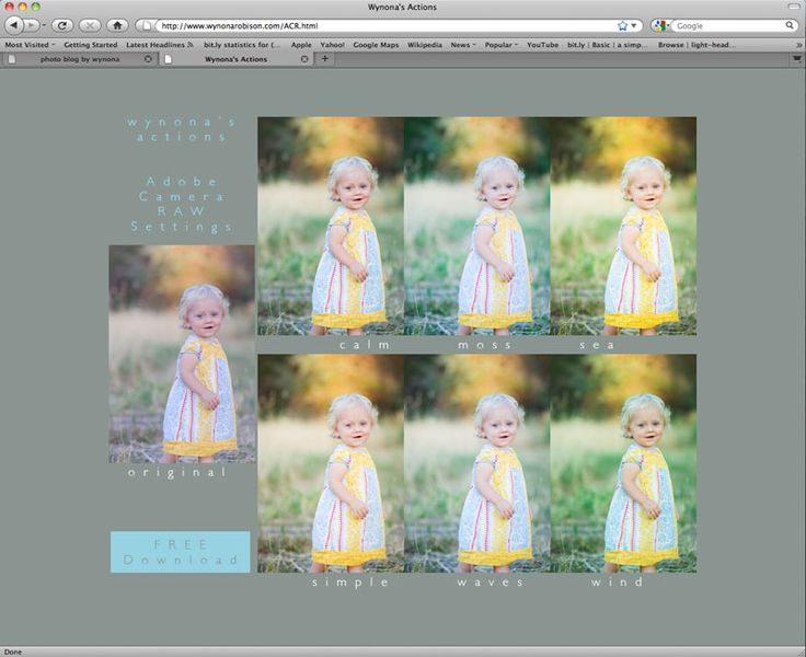 Wynona Robison's (Seriously Awesome) FREE Adobe Camera Raw Settings - via EW Couture blog