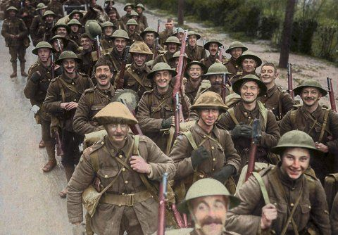 Troops of the 10th Battalion, Royal Fusiliers (37th Division) marching to the trenches.