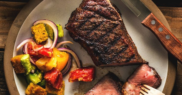 Grilled NY Steak with Cornbread Salad Recipe | Traeger Wood Fired Grills