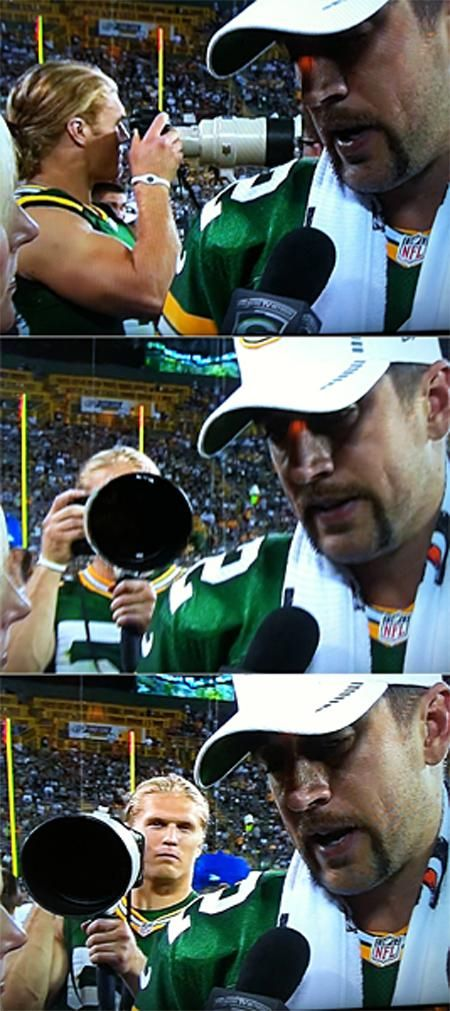 CLAY MATTHEWS photo bombs Aaron Rodgers ❤️❤️❤️❤️❤️