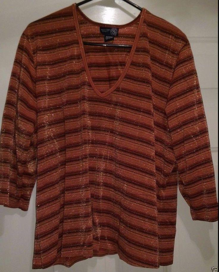 Venezia Jeans Woman's Plus Lt/Dk Orange/Brown/Gold Striped Shirt Size 18/20 #Venezia #Blouse #Casual