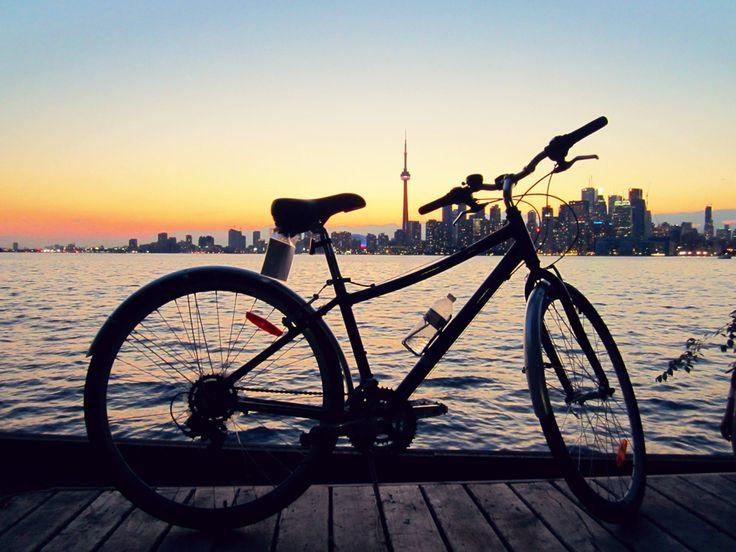 Hard to beat this view // Toronto Island sunset #bike #bicycle