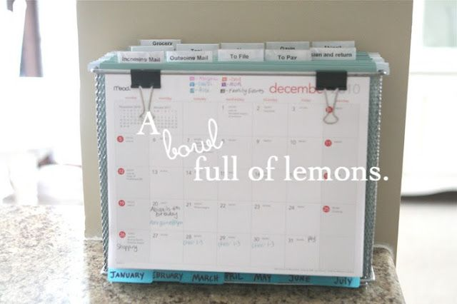 "No room for an office? Create the perfect ""Mobile"" Command Center to help keep you and your family organized with A Bowl Full of Lemons"