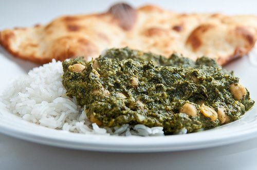 Indian food- Chana Saag (chickpeas and spinach)