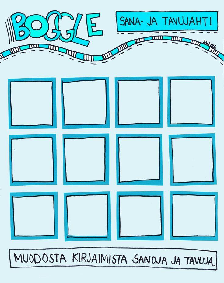Boggle - tulosta taululle, itse käytän magneettikirjaimia lokeroissa (helppo vaihtaa). Ekan luokan versio - kirjoita sanoja ja tavuja!