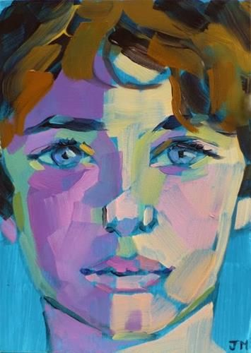 Expressionist Portrait - acrylic by ©Jessica Miller (DailyPaintworks)