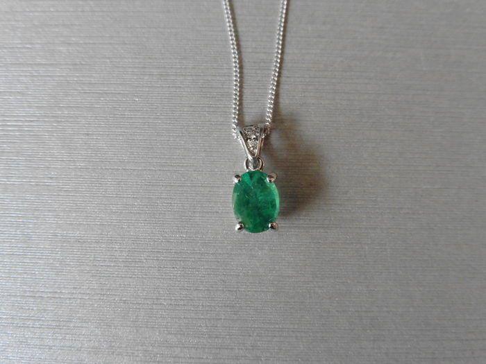 Platina hanger met smaragd en diamanten - lage minimumprijs  Sapphire en Diamond set hanger1 x ovaal knippen Emerald (behandeling onbekend)8 x 6 mmbriljant geslepen diamanten in de baal1 x 1.1mm1 x 1.3mm1 x 1.4mmtotale gewicht - 0.03ctkleur - G/HClarity - SiPlatina 950 merkengewicht - 146 gramgemonteerd op een wit goud 9ct fijn Gourmetketting 18 inchgewicht - 048 gramHallmarked 9ct (onder juridische gouden graad voor sommige landen)wordt geleverd in kleine geschenkdoosHet verschepen Opties…