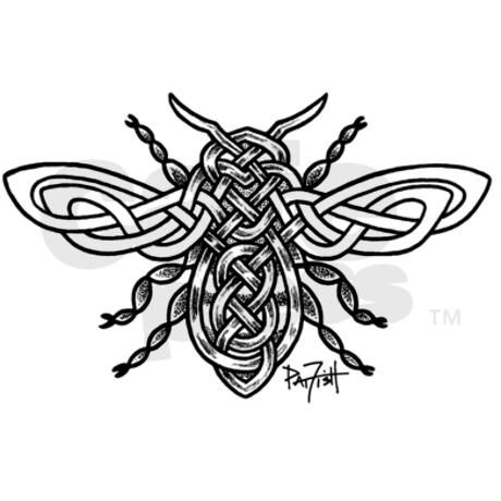 Celtic Knotwork Bee - black li Sticker (Rectangle)