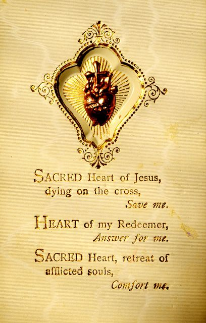 Sacred Heart of Jesus, dying on the cross, Save me. Heart of my Redeemer, Answer for me. Sacred heart, retreat of afflicted souls, Comfort me.