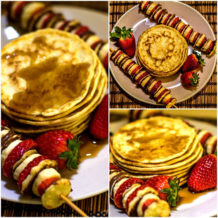 Mini nutella pancakes ! Soft and pillowy pancakes slathered with Nutella and layered on skewers with fresh strawberries and banana.
