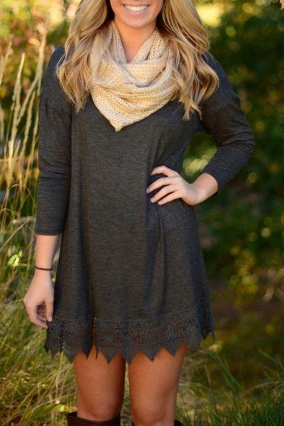 Deep Gray Crochet Lace Hem Trapeze Dress - OASAP.com