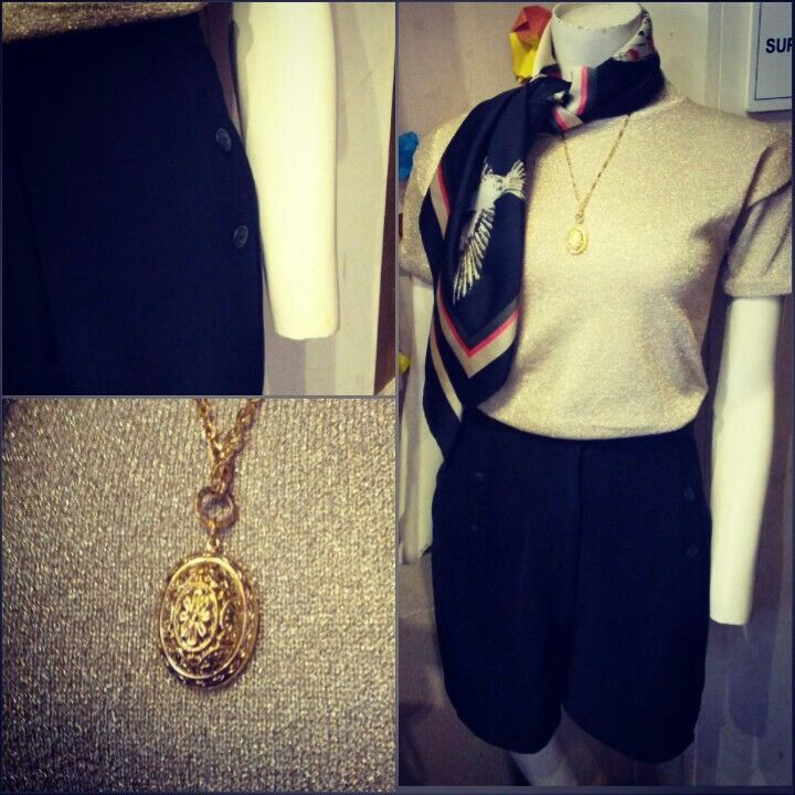 #vintage #gold #shimmer #knit #top $30,   #vintage #gold #chain and #locket #pendant #necklace $35, and #vintage #black #relaxed #shorts $49