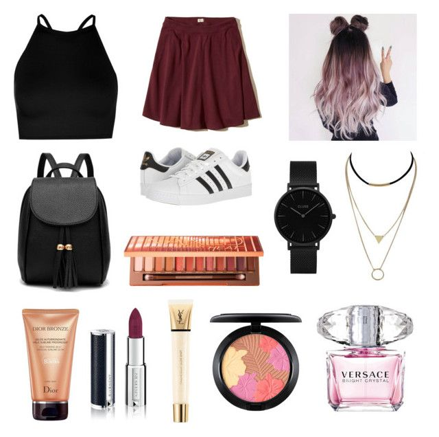 """"""""""" by polivoreaddicted on Polyvore featuring Boohoo, Hollister Co., adidas, CLUSE, Urban Decay, Christian Dior, Yves Saint Laurent, Givenchy, MAC Cosmetics e Versace"""