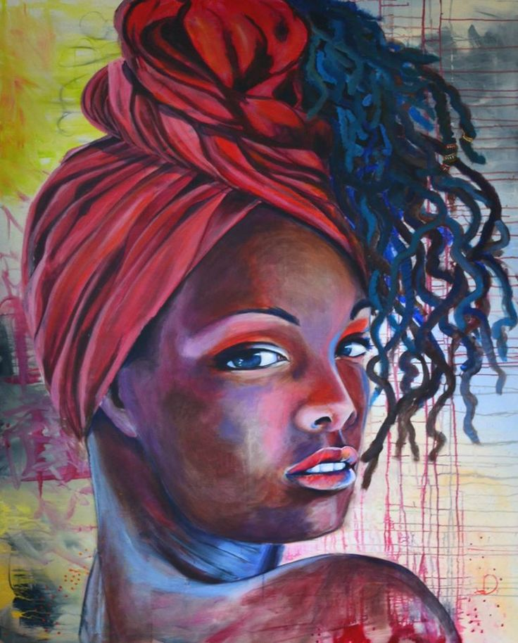 Red headwrap 120X150 cm. Acrylic on canvas. Made by Naja Duarte. (SOLD)