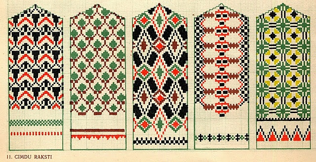 Latvian designs for mittens: Crosses Stitches Patterns, Latvian Mittens, Mittens Design, Folkcostume Embroidery, Folk Patterns, Knits Patterns, Mittens Charts, Folk Costume, Embroidery Designs
