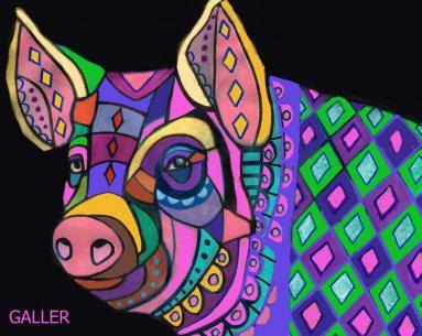 Pig Art Posters by HeatherGallerArt