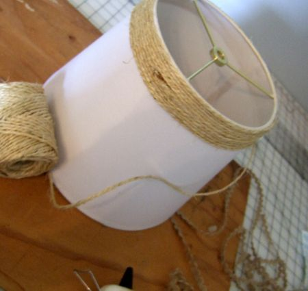 Refurbish a tired lampshade with jute