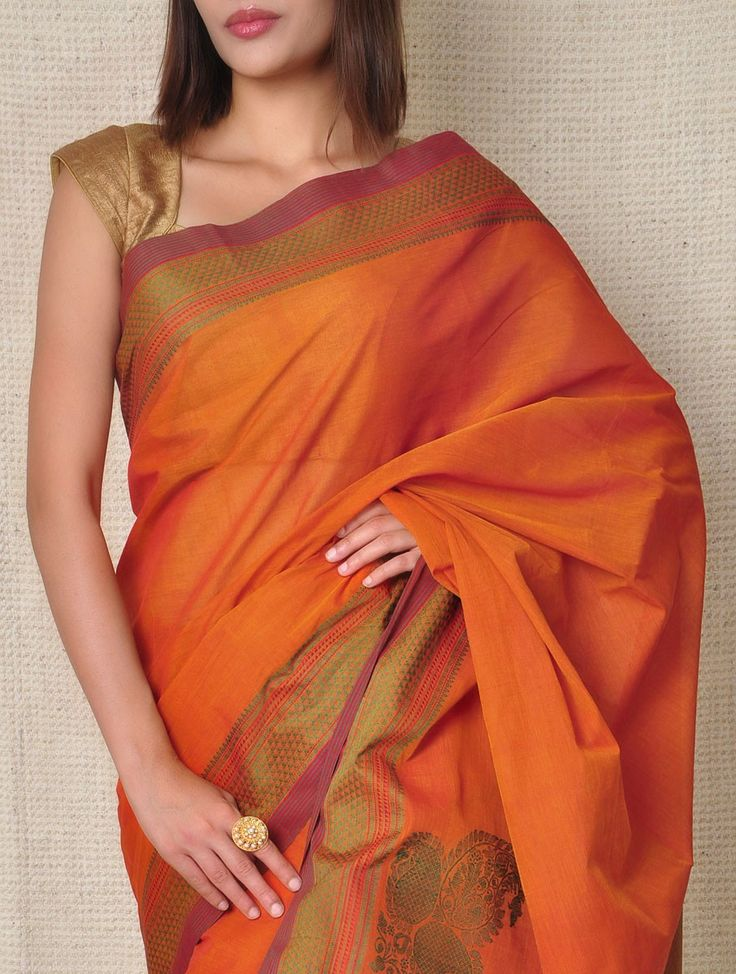 Buy Coral Orange & Green Kanchi Cotton Saree Online at Jaypore.com