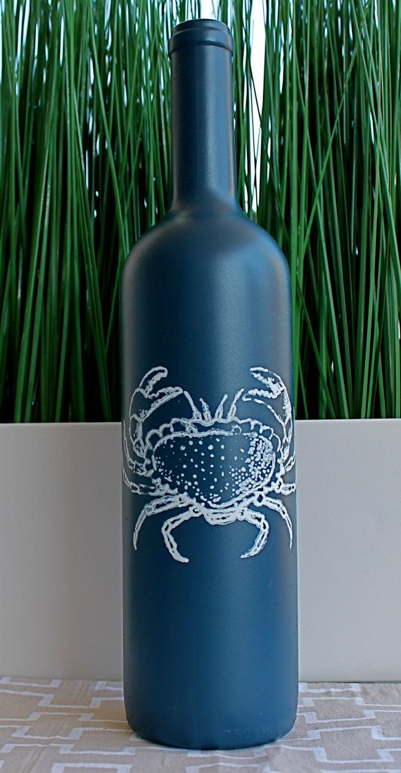Beautiful Sea Inspired Nautical Painted Wine Bottle Crab