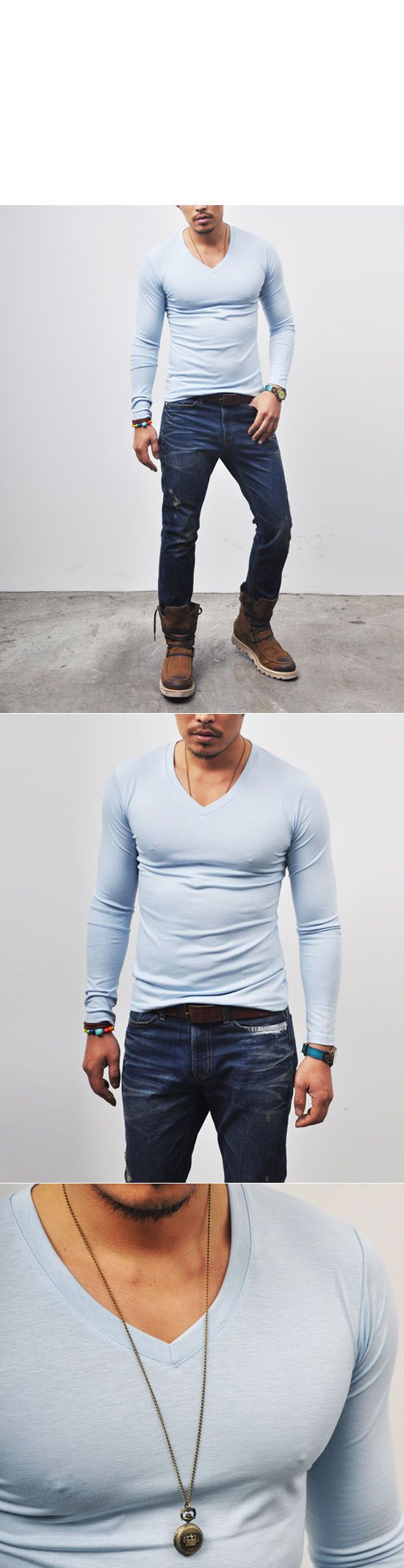Tops :: Top Quality Snug Cut Silket V-neck-Tee 119 - Mens Fashion Clothing For An Attractive Guy Look