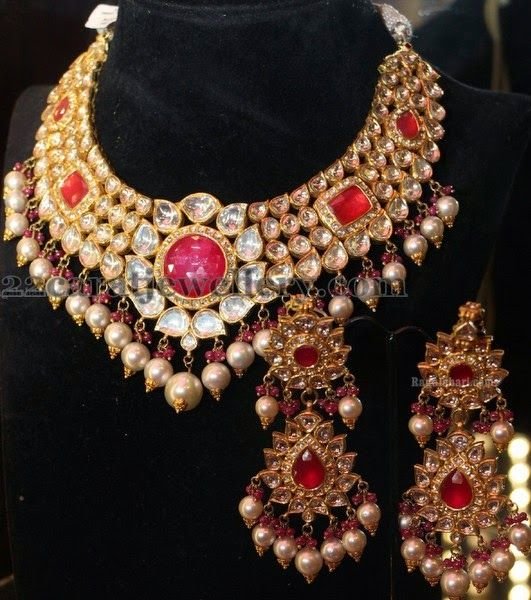 1000 Ideas About Indian Bridal Jewelry Sets On Pinterest: Jewellery Designs: Kundan Jadau Choker And Hangings